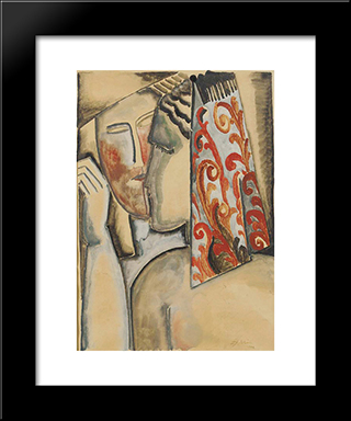 Couple: Modern Black Framed Art Print by Ossip Zadkine