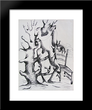 Daphne: Modern Black Framed Art Print by Ossip Zadkine