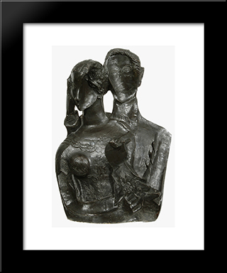 Double Portrait Of Nel And Henk Wiegersma: Custom Black Wood Framed Art Print by Ossip Zadkine