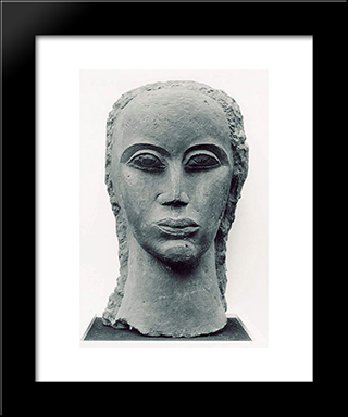 Female Head: Modern Black Framed Art Print by Ossip Zadkine