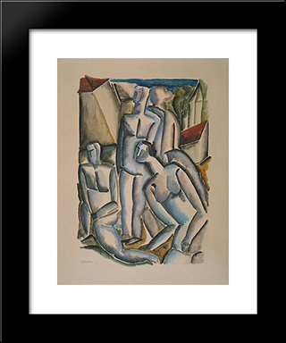 Four People In A Village: Custom Black Wood Framed Art Print by Ossip Zadkine