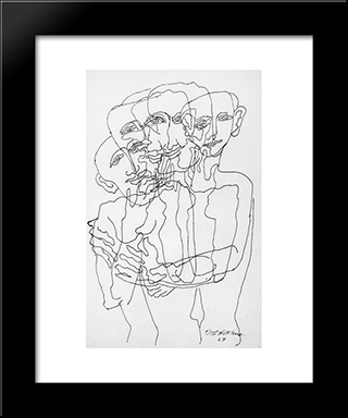 Group To The Four Faces: Custom Black Wood Framed Art Print by Ossip Zadkine