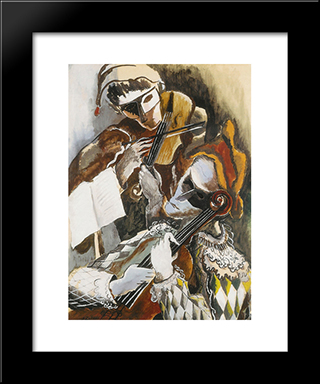 Harlequins Violinists Hidden: Custom Black Wood Framed Art Print by Ossip Zadkine