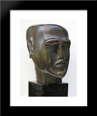 Human Head: Modern Black Framed Art Print by Ossip Zadkine
