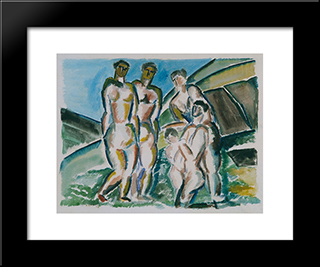 Landscape And Bathers: Custom Black Wood Framed Art Print by Ossip Zadkine