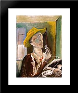Man With The Yellow Hat: Custom Black Wood Framed Art Print by Ossip Zadkine
