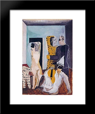 Masquerade Gold Guitarist: Custom Black Wood Framed Art Print by Ossip Zadkine