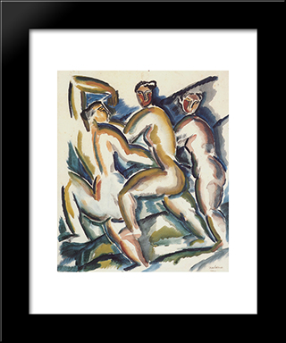 Study Of Women: Custom Black Wood Framed Art Print by Ossip Zadkine