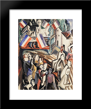 The Ball July 14: Custom Black Wood Framed Art Print by Ossip Zadkine