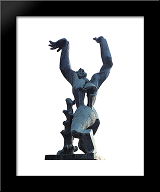 The City Destroyed: Custom Black Wood Framed Art Print by Ossip Zadkine