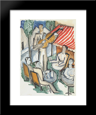 The Guitar Player: Custom Black Wood Framed Art Print by Ossip Zadkine