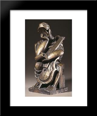 The Composer: Modern Black Framed Art Print by Ossip Zadkine