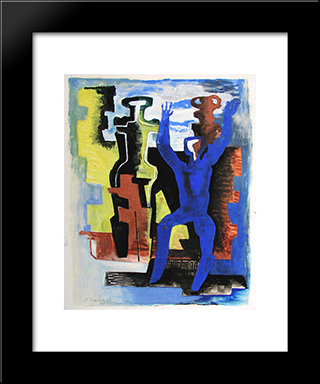 The Messengers Of The Day: Modern Black Framed Art Print by Ossip Zadkine