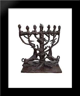 The Tree Of Life  -  Menorah: Custom Black Wood Framed Art Print by Ossip Zadkine