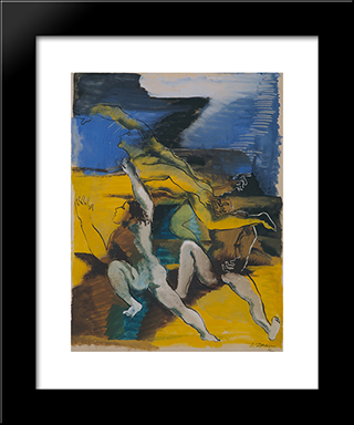 Three Personages: Custom Black Wood Framed Art Print by Ossip Zadkine