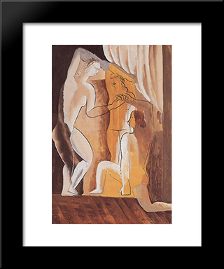 Three Women In An Interior: Custom Black Wood Framed Art Print by Ossip Zadkine