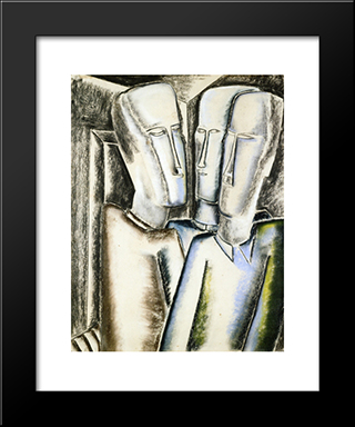 Three Men: Modern Black Framed Art Print by Ossip Zadkine