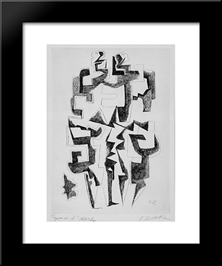 Twins: Modern Black Framed Art Print by Ossip Zadkine