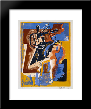 Visitors To The Sun: Custom Black Wood Framed Art Print by Ossip Zadkine