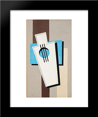 Composition With Music Instrument: Modern Black Framed Art Print by Otto Gustav Carlsund