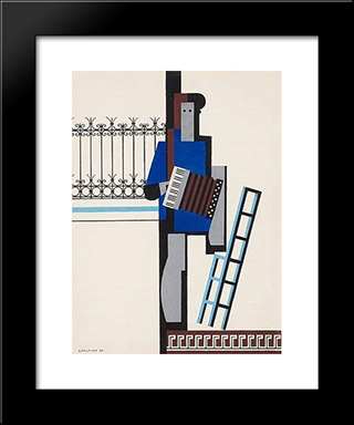 Musician With Accordionblue Bar: Modern Black Framed Art Print by Otto Gustav Carlsund