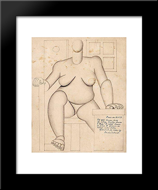 Sitting Cubist Woman: Modern Black Framed Art Print by Otto Gustav Carlsund