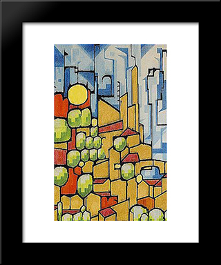 Staden Pa Berget: Custom Black Wood Framed Art Print by Otto Gustav Carlsund