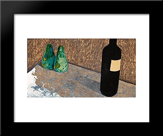Still Life With Bottle And Green Pears: Modern Black Framed Art Print by Otto Gustav Carlsund