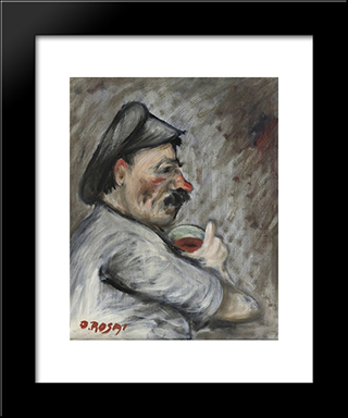 Drinking Man: Modern Black Framed Art Print by Ottone Rosai