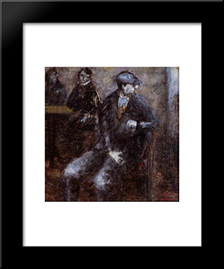 Man Waiting: Modern Black Framed Art Print by Ottone Rosai
