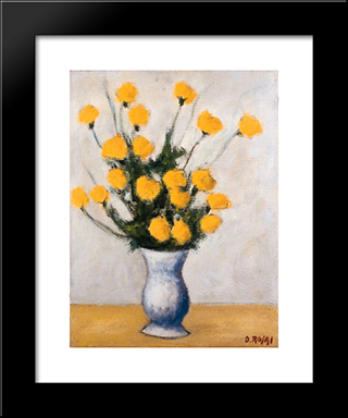 Vase With Flowers: Modern Black Framed Art Print by Ottone Rosai