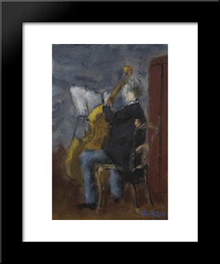 Violoncello Player: Modern Black Framed Art Print by Ottone Rosai