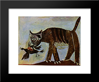 Cat Catching A Bird: Modern Black Framed Art Print by Pablo Picasso