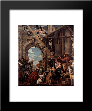 Adoration Of The Magi: Modern Black Framed Art Print by Paolo Veronese