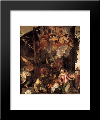 Adoration Of The Shepherds: Modern Black Framed Art Print by Paolo Veronese