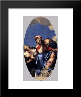 Aged Oriental With A Young Woman: Modern Black Framed Art Print by Paolo Veronese