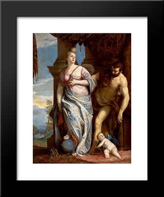 Allegory Of Wisdom And Strength( The Choice Of Hercules Or Hercules And Omphale): Modern Black Framed Art Print by Paolo Veronese
