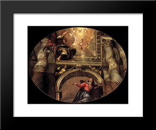 Annunciation: Modern Black Framed Art Print by Paolo Veronese