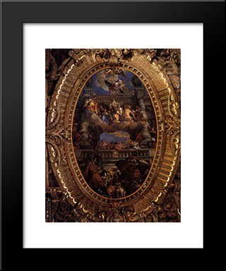 Apotheosis Of Venice: Modern Black Framed Art Print by Paolo Veronese