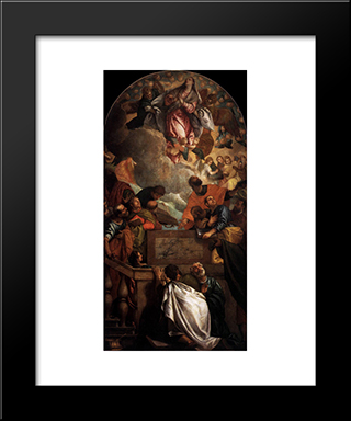 Assumption Of The Virgin: Modern Black Framed Art Print by Paolo Veronese