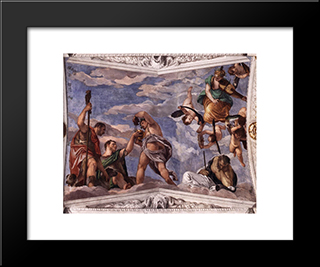 Bacchus, Vertumnus And Saturn: Modern Black Framed Art Print by Paolo Veronese