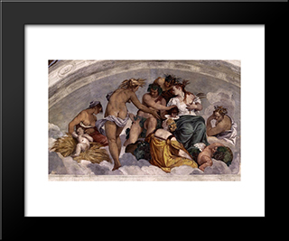 Bacchus And Ceres: Modern Black Framed Art Print by Paolo Veronese