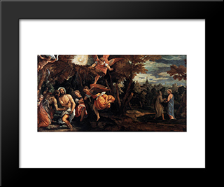 Baptism And Temptation Of Christ: Modern Black Framed Art Print by Paolo Veronese