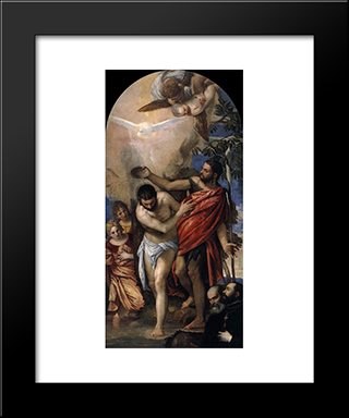 Baptism Of Christ: Modern Black Framed Art Print by Paolo Veronese