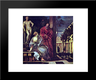 Bathsheba Bathing: Modern Black Framed Art Print by Paolo Veronese