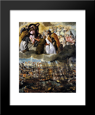 Battle Of Lepanto: Modern Black Framed Art Print by Paolo Veronese
