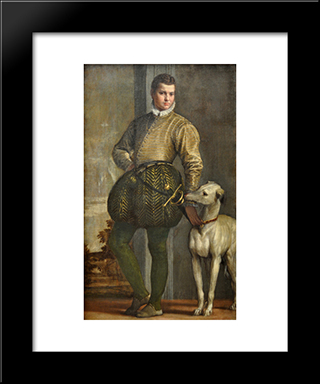 Boy With A Greyhound: Modern Black Framed Art Print by Paolo Veronese
