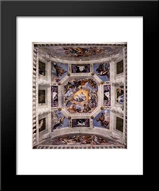 Ceiling Of The Sala Dell'Olimpo: Modern Black Framed Art Print by Paolo Veronese