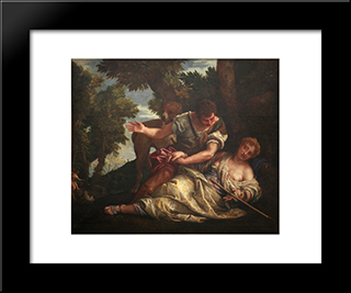 Cephalus And Procris: Modern Black Framed Art Print by Paolo Veronese