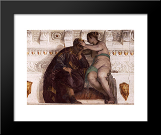 Chance Crowning A Sleeping Man: Modern Black Framed Art Print by Paolo Veronese